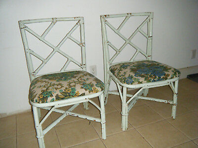 Pair Of Vintage Mid Century Chinese Chippendale Shabby Chic Bamboo Chairs Green