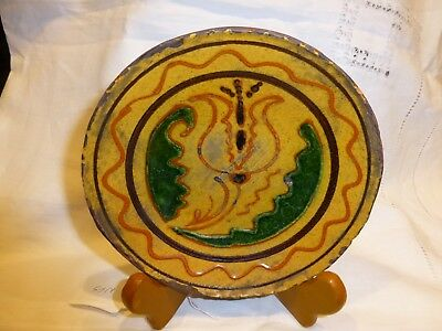 Early - 1994 - Shooner Redware Plate with Tulip - Mary Spellmire Shooner