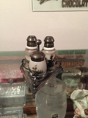 Antique Victorian Pairpoint S&P and mustard pot in Silver Plated Stand