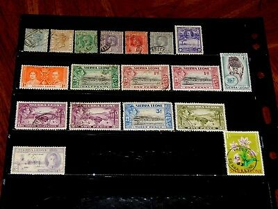 Sierra Leone stamps - 18 mint hinged and used early stamps - nice group !!