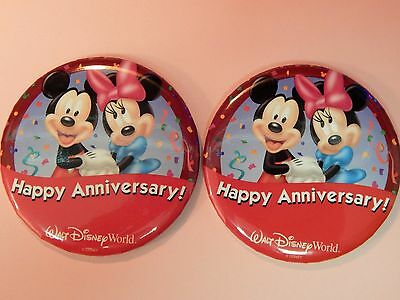 """Disney Buttons, """"Happy Anniversary"""", set of 2, new and fresh, Retired"""