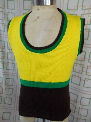 Vintage 1970s Yellow Brown & Green Hi Turbo Knitted Acrylic Vest Glam Rock S/M