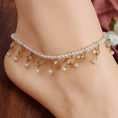 New 1pc Pearls Beaded Anklet Foot Sandals Beach Wedding Jewelry Ankle Bracelets