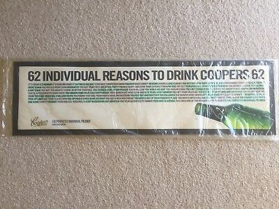 Coopers 62 Bar Mat Runner Beer Home Brew Pub Collectable