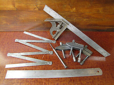 Misc Lot of Vintage Machinist Tools Square Rules Clamp Vises Etc. GERMANY.