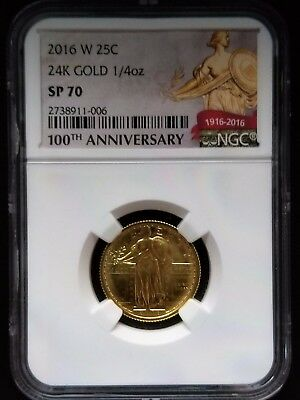 2016 W Gold Standing Liberty Quarter NGC SP 70 1/4 oz Gold