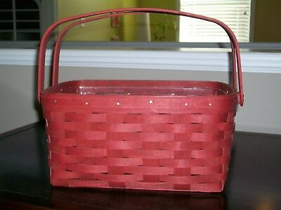 Longaberger 2007 Red double swing handled basket with protector