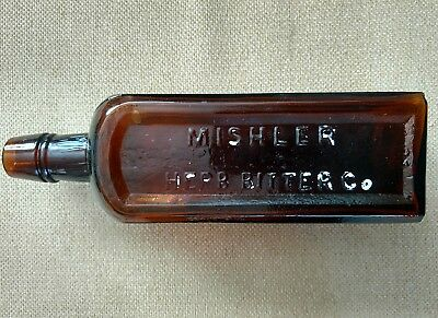 Mishlers Herb Bitters Golden Amber Bottle Mint Tablespoon Graduation Embossed To