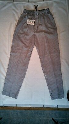 Happy Chef Men's Cooking Pants NWT Size M Black & White Twill Baggy Professional