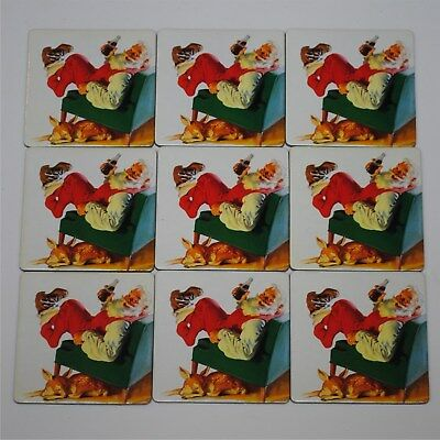9 Christmas Coca-Cola Drink Coaster With Santa Claus And Reindeer Cork Backing