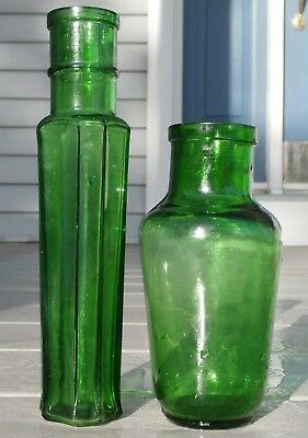 Pair Of Antique Emerald Green Peppersauce & Mustard Early Bottles/jars