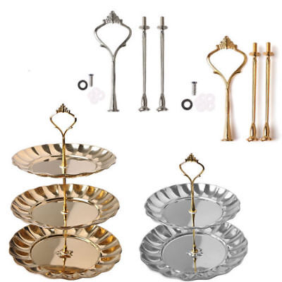 New 2/3 Tier Cake Stand Crown Handle Fitting Hardware Rod Plate Wedding Party