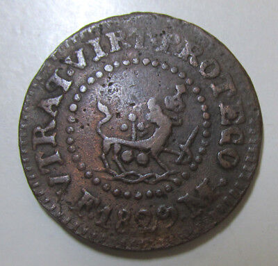 1829 M Spanish Philippine 1 Quarto Copper Coin, Spain, Filipinas, Km-7