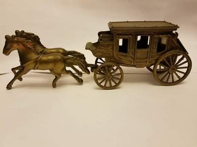 Antique Vintage Solid Brass Horse Pulling Carriage Tabletop Decor Wheels Wagon