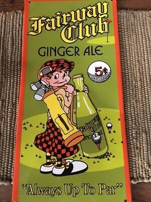 Fairway Club Ginger Ale Tin Advertising Sign