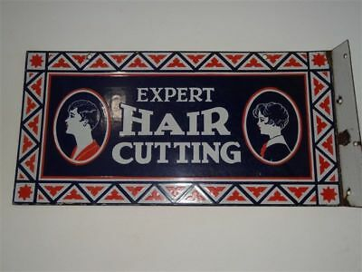 1920's? Barber Shop porcelain flange sign hair cutting, check my pole & neon OLD