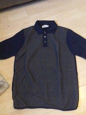 Vtg 70's Ken Roberts Ban- Lon Size S Navy Mens Polo Shirt New Old Stock