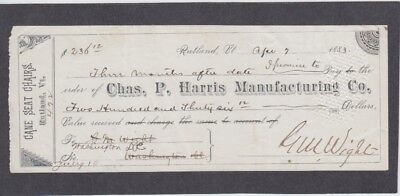 Promissory Note to Chas. P. Harris Manufacturing Co., Rutland, Vermont 1883