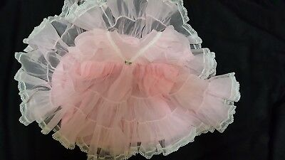 Vintage Infant Toddler Lady Lovely Pink Nylon Tricot Organza? Portrait Dress 18M