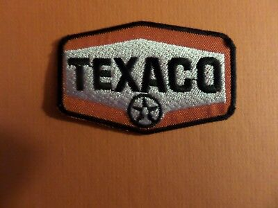 TEXACO  BLACK &SILVER & RED   Embroidered 1-3/4 x 3 Iron On PATCH