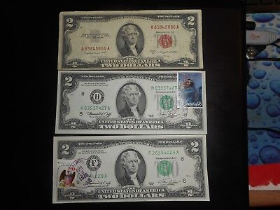 2 1976 Series $2  Dollar Bills w/ Stamps circulated Bicentennial Notes lot of 3