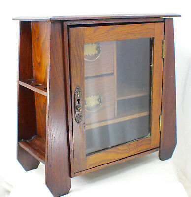 Mission Oak Arts and Crafts Stickley Roycroft Era Smoking Stand Humidor c. 1910