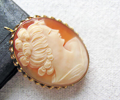 Vintage 1/20 12K Gold Filled Cameo Brooch Shell Carved Lady w Necklace Bail
