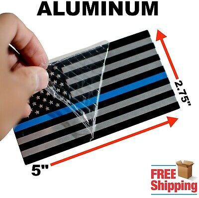 "3D METAL Thin Blue Line American Flag Sticker Police Officer Decal HUGE 5""x2.75"""