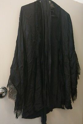 vintage pinup sexy kisskill black satin lace robe size M