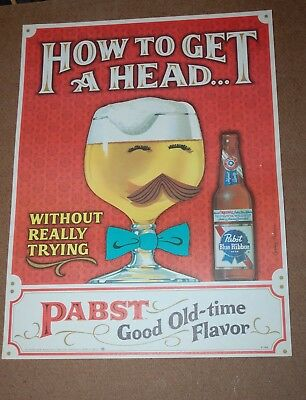 """NOS Pabst Blue Ribbon Beer Sign Poster """"How to get A Head"""" Authentic Poster"""