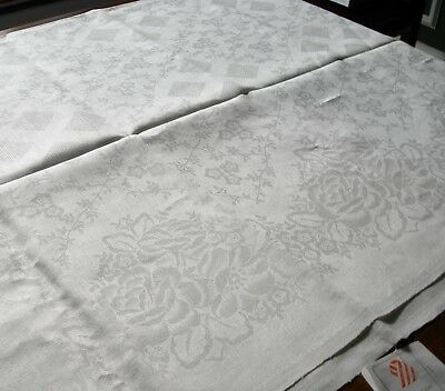 "Russian Linen Damask White Tablecloth 76"" x 59"" Floral & Diamond Pattern w Tag"