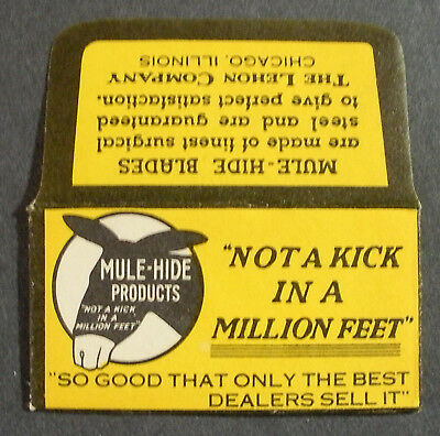 Vintage Made in USA Razor Blade MULE HIDE PRODUCTS Advertising