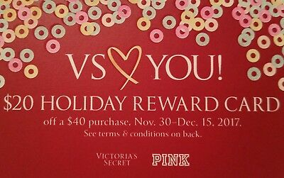 Victoria's Secret $20 Holiday Reward Card ~ Online Only ~Exp 12/15 ~PLEASE READ!