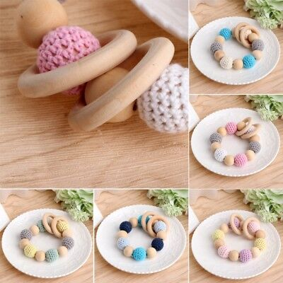 Wooden Baby Teether Teething Bracelet Crochet Beads Ring Play Chewing Toy New