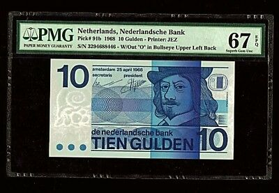 | Netherlands 10 Gulden | 1968 | Bullseye | Superb Gem UNC | PMG-67 EPQ |