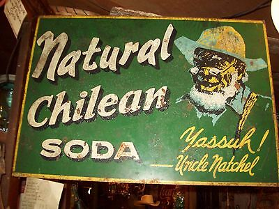 1940's Uncle Natchel Natural Chilean soda double sided flanged metal sign