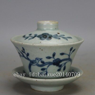 Chinese old  Blue & white porcelain bird & flower pattern Tea Brew Cup