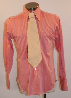 "MEDIUM ORIGINAL VINTAGE MENS PINK 1970s SHIRT & CREAM TIE. ""PETER SHEARER"""