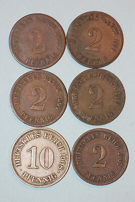 GERMAN EMPIRE lot of six old coins from GERMANY