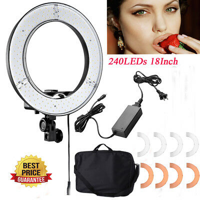 "18"" 240LED Ring Light 5400K Dimmable Photo Studio Photography Kit w Carry Bag HT"