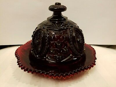 "Ruby Red Glass  Butter Dish Covered Cheese Plate Tooth Edge 7 3/4"" D 6""h"