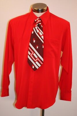 X Large Original Vintage Mens Red  Shirt & Tie. Mattino Italy.made In China.