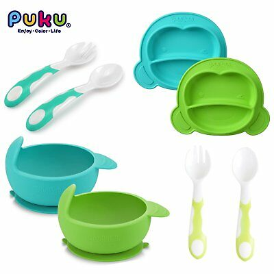 PUKU Baby Self Feeding Spoon Silicone Suction Bowl Compartment Plate Tableware
