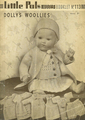 """VINTAGE KNITTING PATTERN COPY TO KNIT 12/16/20"""" DOLL'S OUTFITS IN  3PLY- 1930's"""
