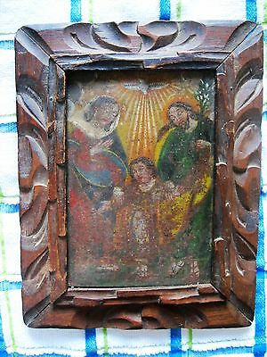 Original Antique Retablo On Tin With The Images Of The Holy Family W/ Frame