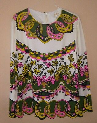 Vintage Mr Dino mod top 60's, scalloped, signed, long sleeves, shirt, blouse, 16