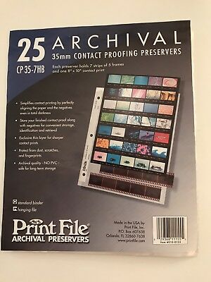 12 Archival Sheets for 35MM contact proofing preservers, CP35-7HB, Print File