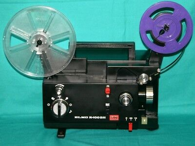 PROJECTOR HEAVEN. ELMO K-100SM  DUAL 8mm SILENT MOVIE PROJECTOR, 100w SERVICED