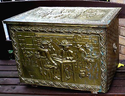 Vintage Brass Covered Fireside Chest-Inn Scene-1930/40-Useful Size     *