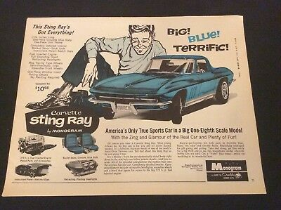 1965 Monogram Print Ad -Quality Hobby Kits -Corvette Sting Ray - 1/8 Scale Model